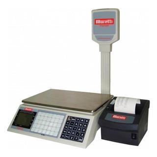 Balanza comercial digital Moretti Market 30 kg con mástil 220V blanco
