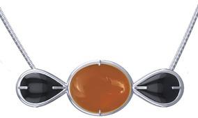 Colar Onix Prata Pedra Vermelha