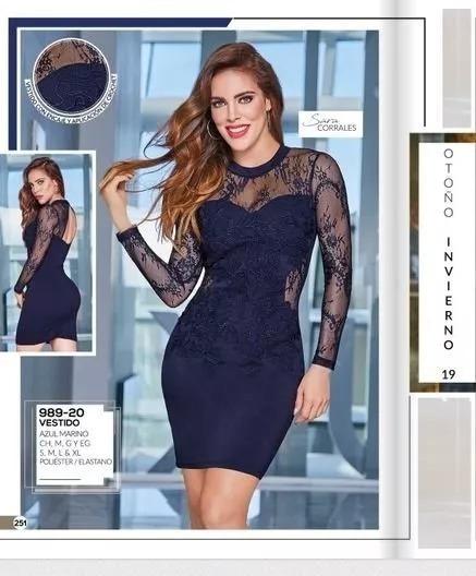 Vestido Dama Cklass 989-20 Azul Encaje Crochet Oi-19
