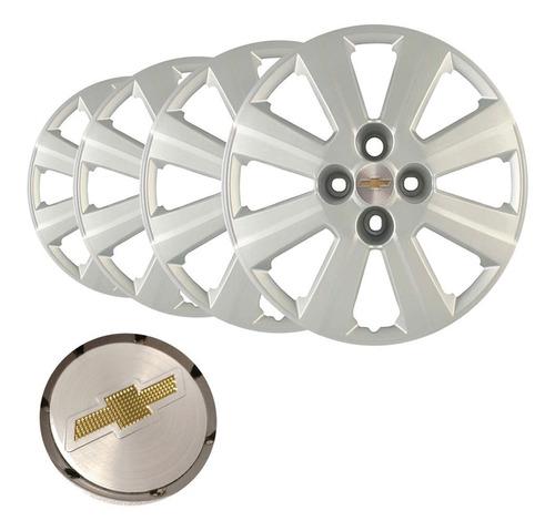 Imagem 1 de 3 de Jogo Calota Aro 15 Agile Corsa Prisma Emblema Original Prata