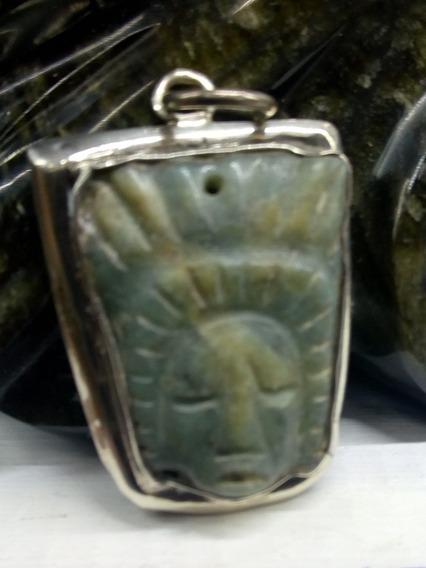 Colgante De Jade, Biselado En Plata Ley.925