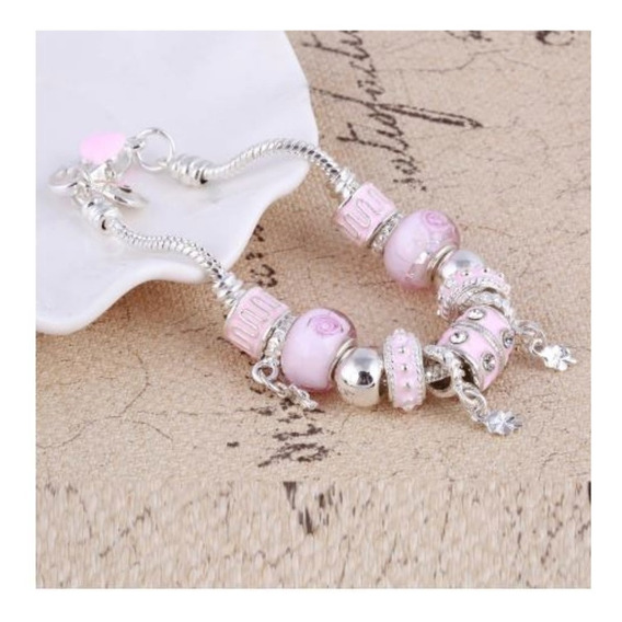 Pulseira Berloque Bracelete Perola Rosa Completa Top