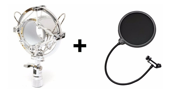 Kit P/ Microfone Aranha Shock Mount Cromado + Pop Filter