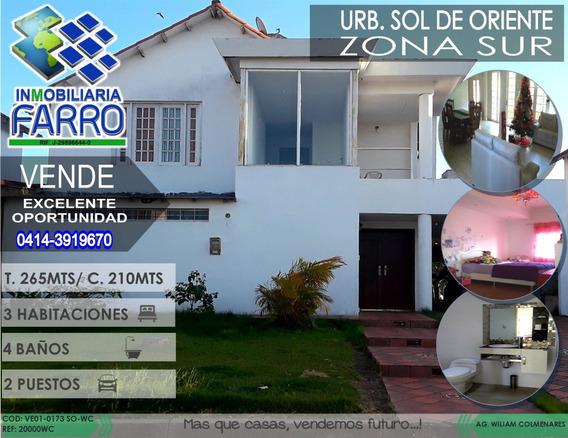 Venta De Th Urb Sol De Oriente Zona Sur Ve01-0173so-wc