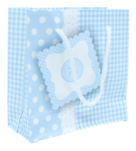 100 Sacolinhas Para Presentes Bebê Azul - 10 X 10 Cm