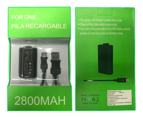 Imagen 1 de 7 de Bateria Recargable Carga Y Juega Para Xbox One 2800 Mah