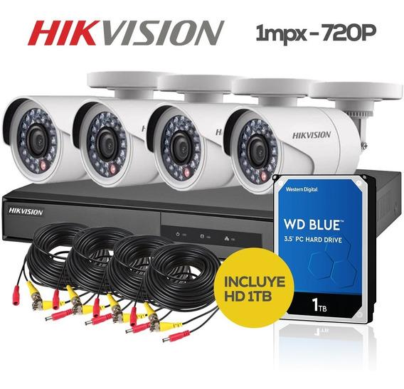 Kit Seguridad Hikvision Fullhd Dvr8 + 4 Camaras Ext + Hd 1tb
