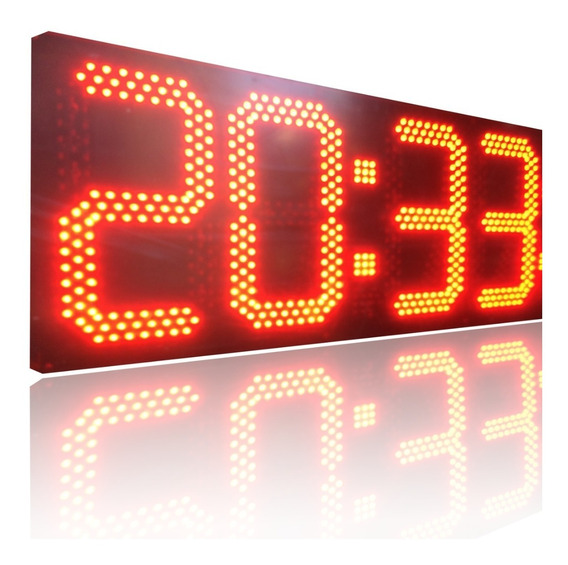 Relogio Digital De Leds 4 Dígitos 10 Pol 643 Leds 84 X 36 Cm