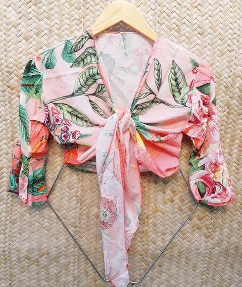 Kit 3 Camisas Floridas Feminina Cropped Amarrar 012-013-014