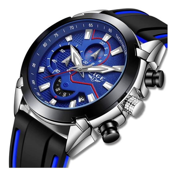 Relógio Masculino Lige 9973 Luxo Casual Esportivo Silicone