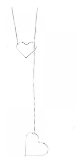 Gargantilha Gravatinha Corações Prata 925 Colar Coração
