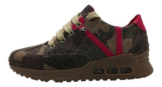 Zapatillas Mujer Zapatos Cuero Camuflado Urbanas Leblu 885
