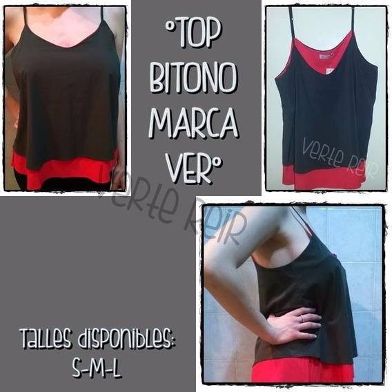 Top Bitono Negro Con Rojo Musculosa Ver