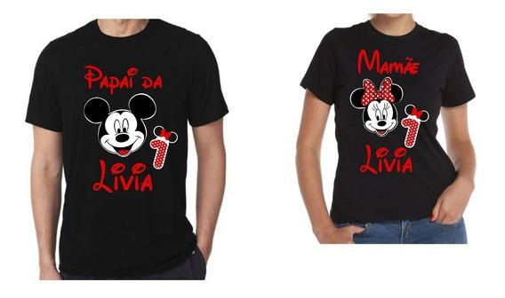 2 Camisas Papai+mamãe Para Aniversario Vários Temas E Cores