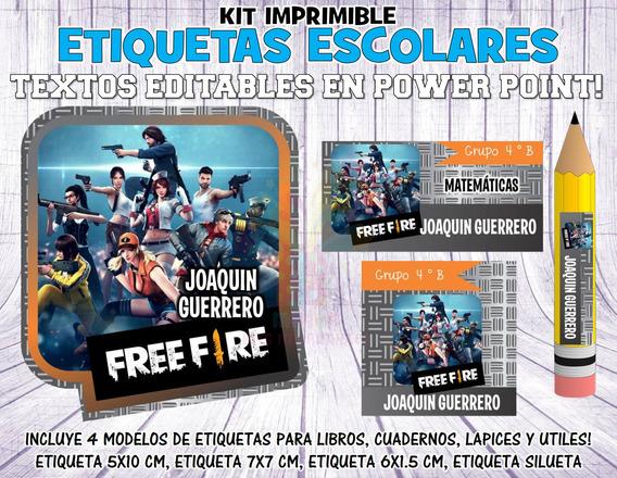 Kit Imprimible Etiquetas Escolares Free Fire S20