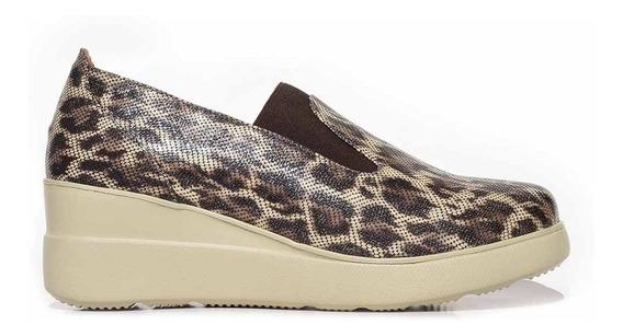 Zapato Cuero Mujer Briganti Taco Chino Mocasin - Mccz33030