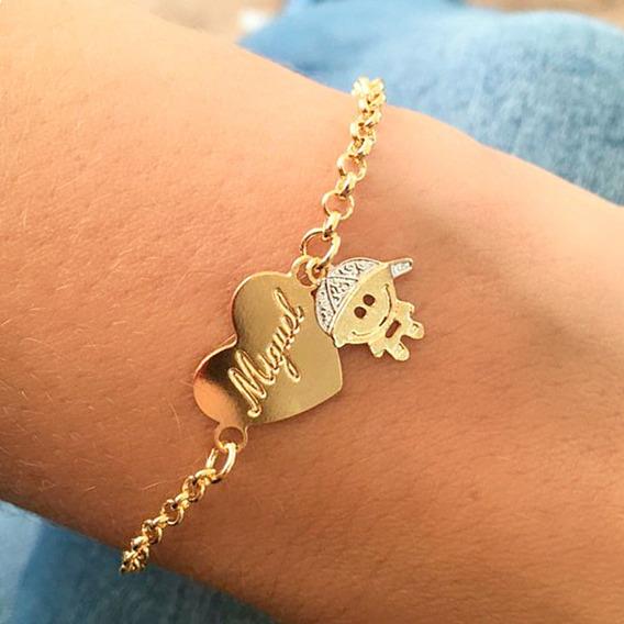 Pulseira Coração Personalizado Com Pingente De Menino Banhado Em Ouro 18k
