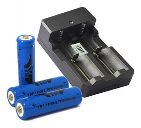 Carregador Duplo P/ Bateria+ 2 Bateria 14500 5200mah 3,7v