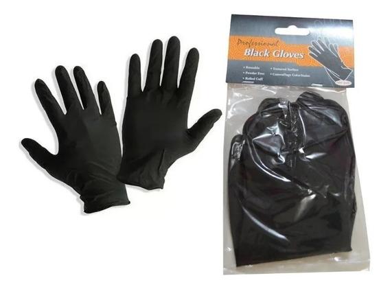 1 Par De Guantes De Latex Reutilizable, Lavable Color Negro
