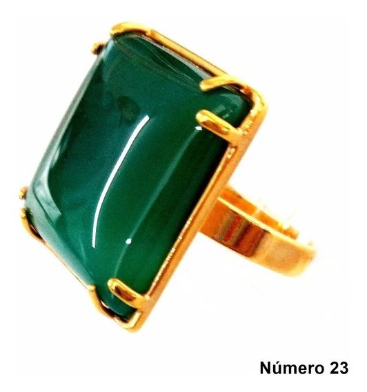 Semi Jóia Anel Dourado Com Pedra Natural N°23 Cor Verde