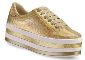 Tenis Zapato Sneaker Mujer Negro Oro Rosa Andrea 2622163