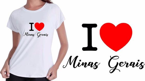 Camisa Camiseta Baby Look Branca Eu Amo Minas Gerais Mineiro