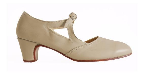 Zapatos Folklore, Español, Tango Y Jazz En Cuero Crema