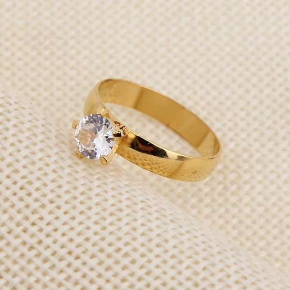Anel Solitário Banhado A Ouro 24k Com Zirconia Cristal