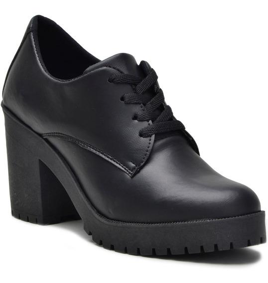 Sapato Coturno Cano Baixo Feminino Preto Fosco Tratorada
