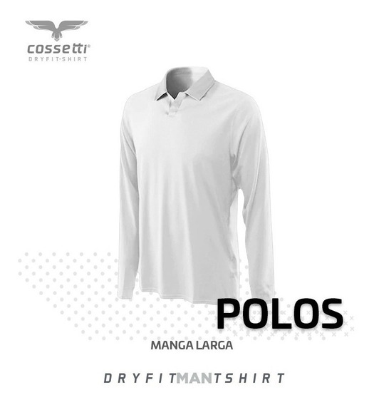 Playera Polo Cossetti Manga Larga Dry Fit Talla Xl, 2xl, 3xl