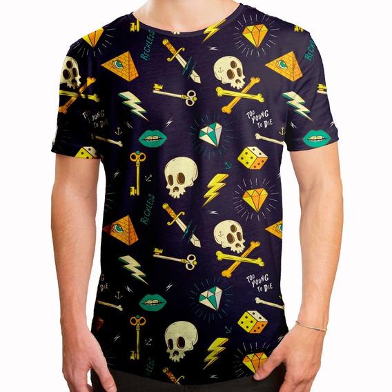 Camiseta Masculina Longline Swag Hipster Tattoo