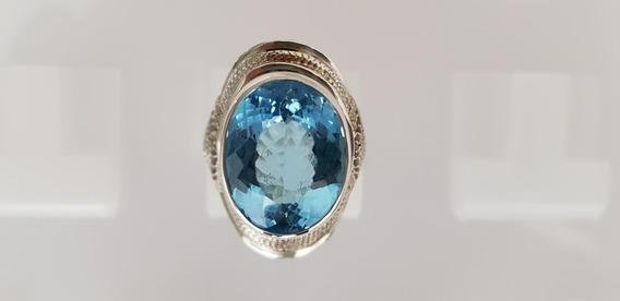 Anel Prata 950 Pedra Preciosa Topázio Azul Sky!!! Artesão!!!