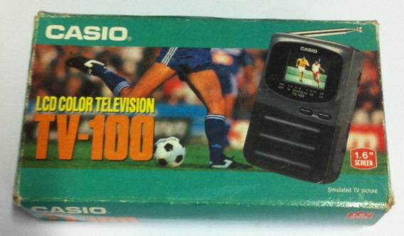 Tv Portátil Casio Tv-100 - Analógico - Na Caixa Raridade