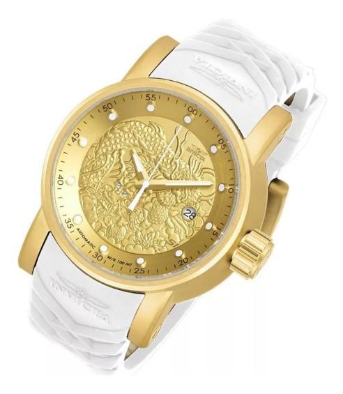 Relógio Invicta Yakuza S1 Vidro De Safira Banhado A Ouro