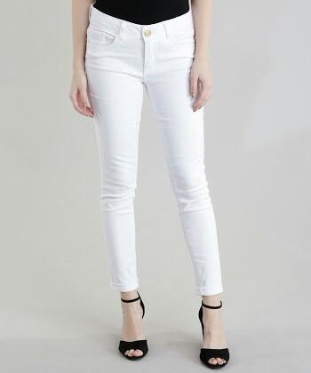 Calça Branca Cigarrete N° 38 Cintura Média Jeans Wear