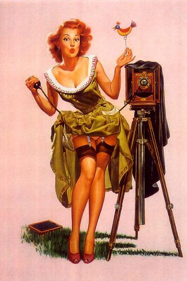 Poster Pinup Linda Mulher Ruiva Pose Máquina Fotográfica