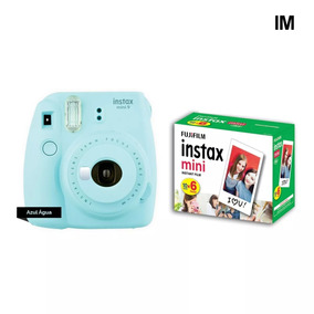 Camera Instax Fuji Mini 9 Azul Aqua + 60 Fotos