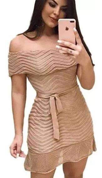 Vestido Tricot Feminino Ciganinha Rodado Tomara Que Caia Cur