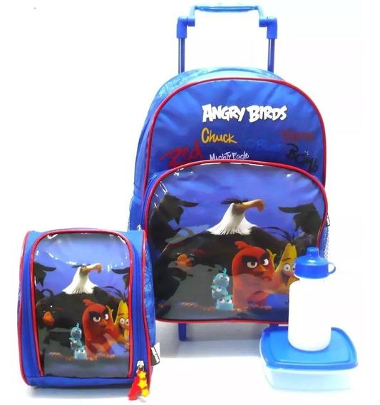 Mochila Angry Birds Pássaros Rodinhas Tam G + Lancheira Azul