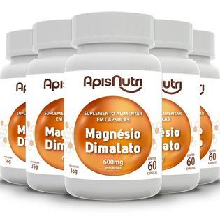 Kit 5 Magnésio Dimalato 600mg - Apisnutri 60 Cápsulas