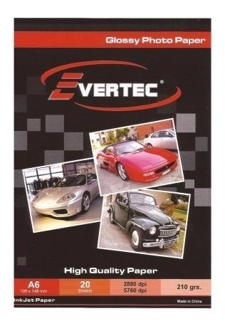 Imagen 1 de 2 de Evertec Papel Fotografico Glossy A4 260g 20 Hojas