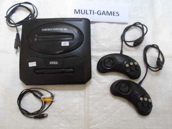 Mega Drive 3 + 2 Controles Com 10 Jogos Na Memoria