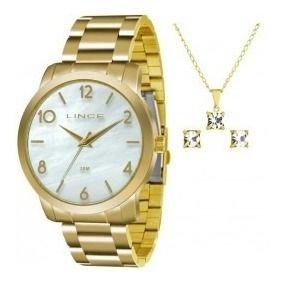 Relógio Lince Dourado Branco Madre Pérola Lrg4374l Ku17