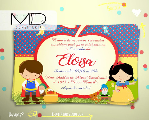 Imagem 1 de 3 de Convite Branca De Neve Cute