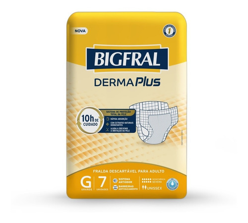 Imagem 1 de 5 de Fralda Bigfral Derma Plus Tamanho G - 7 Unidades