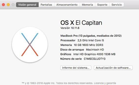Macbook Pro 13 Midd 2012 Con 2 Años De Uso