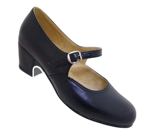 Zapato Folklórico Bailable Negro. Tacón #5 Tallas 22 A 27