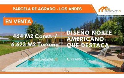 Excepcional Parcela De Agrado Los Andes - Diseño Norteamericano, Cocina Tipo Isla