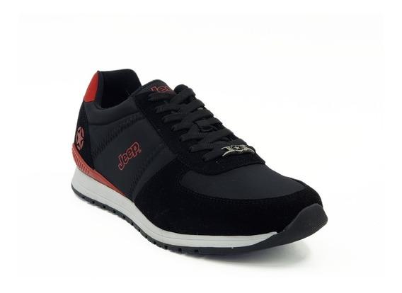 Tenis Jeep Footwear Negro-rojo Hombre Modelo: Js 200