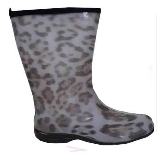 Galocha Bota Feminino Leopardo Cano Médio - Pat